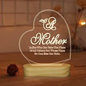Love 3D Illusion Optical Night Light Lamp for Mother's Day Gifts,Warm White Color LED Bedside Decor Table Lamps