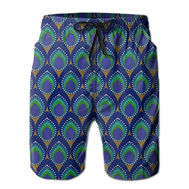 c466388b4d FASUWAVE Men's Swim Trunks Peacock Pattern Quick Dry Beach Board Shorts  with Mesh Lining White