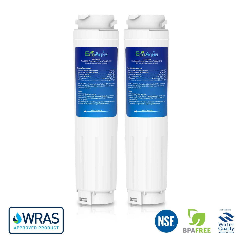 2 x EcoAqua - Cartouche Filtre à Eau Interne pour Réfrigérateur - Compatible avec Bosch Neff Siemens Miele Ultra Clarity