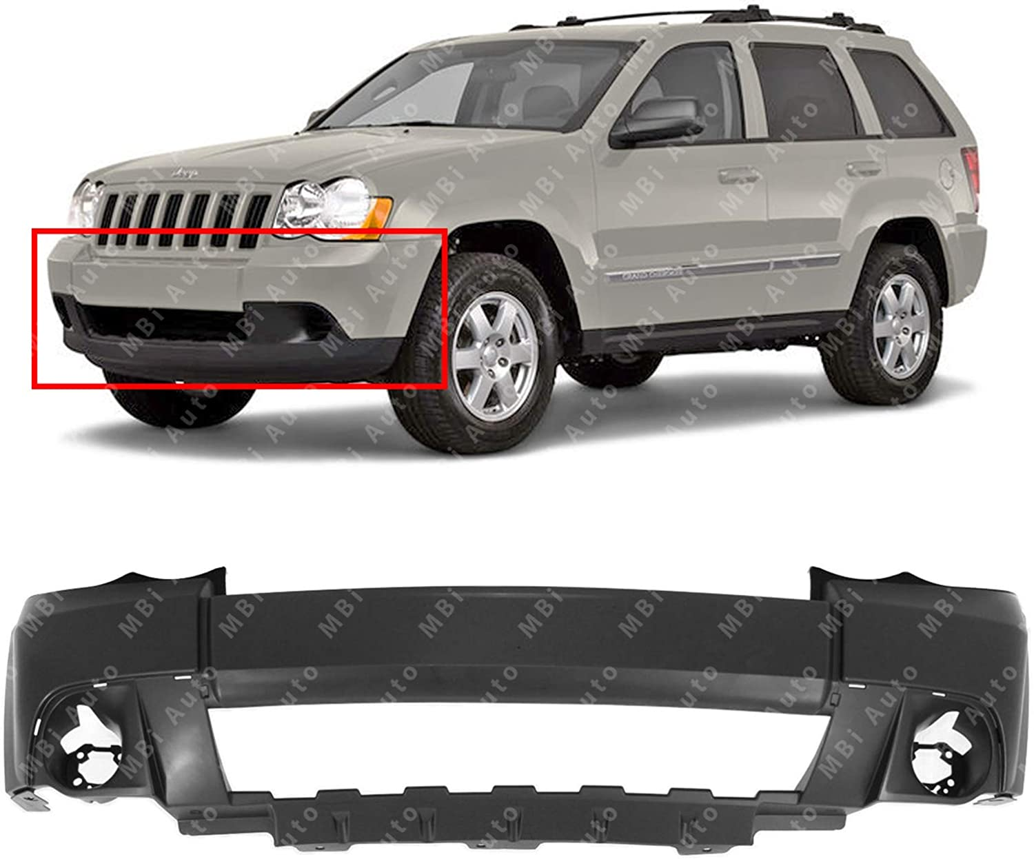 NEW CH1000932 BUMPER COVER PRIME FRONT FOR JEEP GRAND CHEROKEE 2008-2010
