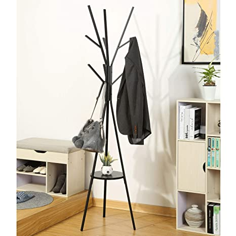 Homebi Coat Rack Hat Stand Free Standing Display Hall Tree Metal Hat Hanger Garment Storage Holder with 9 Hooks for Clothes Hats and Scarves in ...