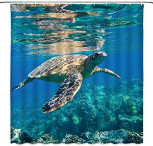 Sea Turtle Shower Curtain, Wildlife Ocean Animal Coral Reef Blue Undersea World Home Decor Bathroom Decoration Sets, 72 x 72 inches Fabric with 12 Hooks,Blue Brown Purple