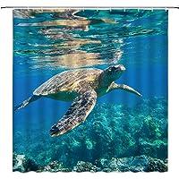 Sea Turtle Shower Curtain, Wildlife Ocean Animal Coral Reef Blue Undersea World Home Decor Bathroom Decoration Sets, 72…