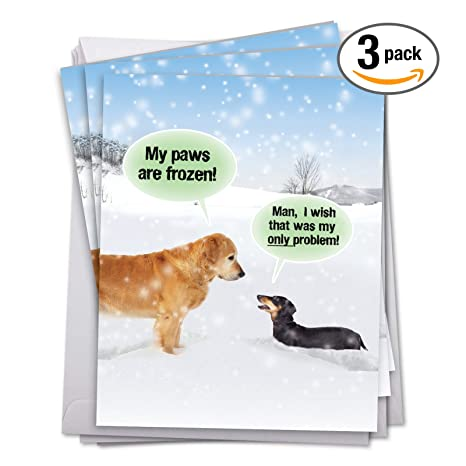Amazon.com : 3 Pack of Jumbo Merry Christmas Greeting Cards: My Paws ...