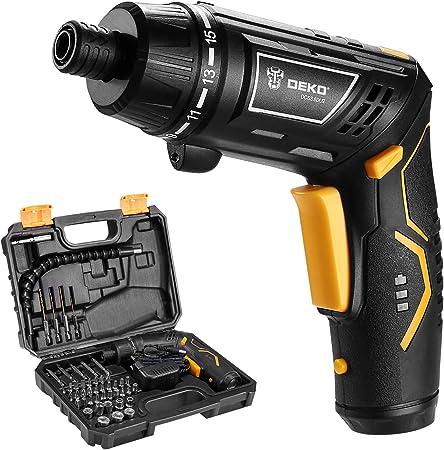 100% de haute qualité soldes original Tournevis électrique, DEKO Sans fil Batterie de Ménage Rechargeable  Perceuse électrique Power Gun Outils avec LED Torch