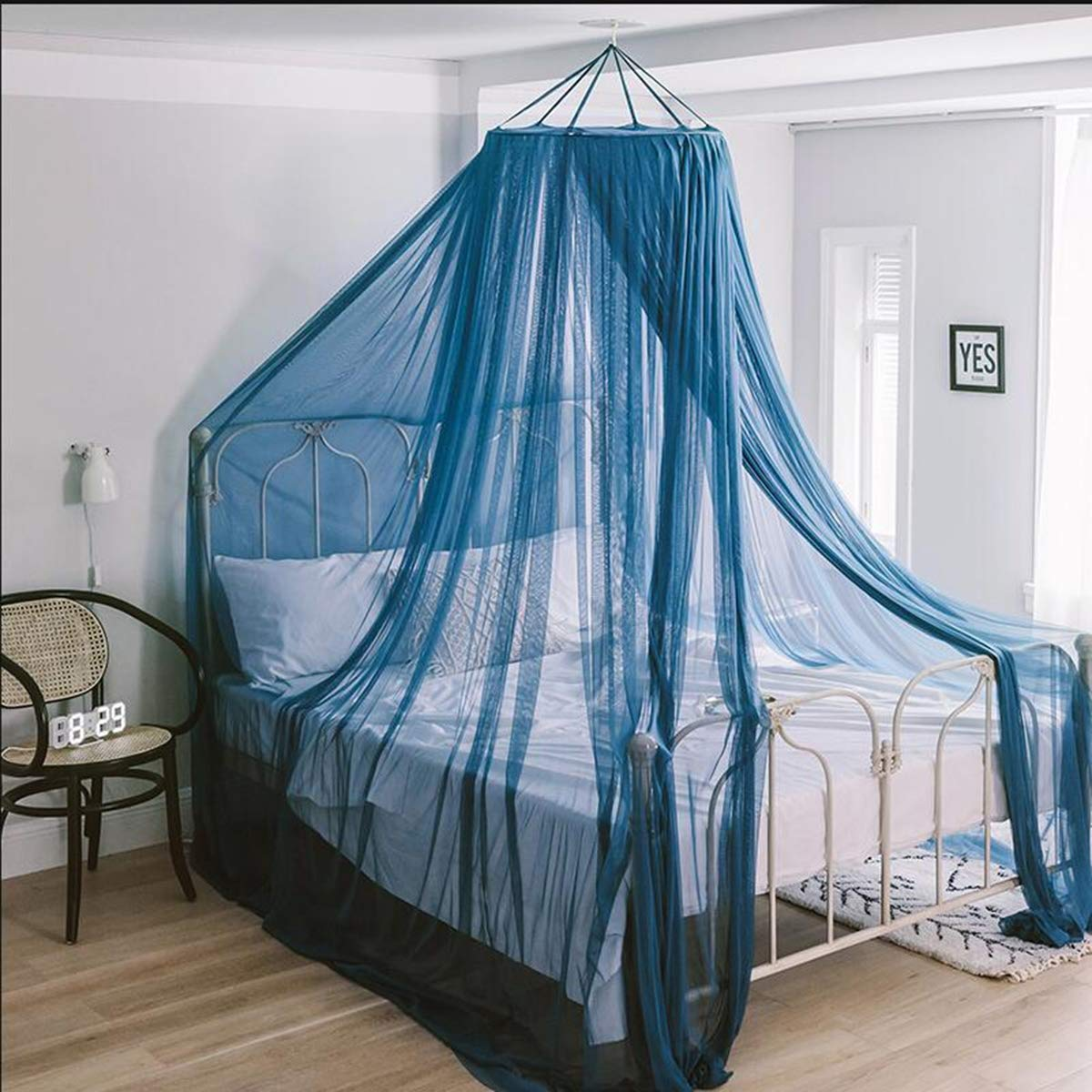 AILY Bed Canopy for Princess Girls Mosquito Net, Round Lace Dome Canopy Bed Curtains for Single to King Size Beds, Yarn Play Tent Bedding House Decoration Reading Nook Cotton,Blue,1.0m(3.3ft) Bed