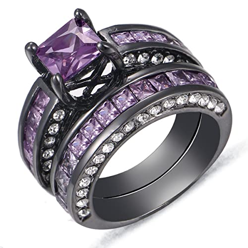 Ordinaire Purple Diamond Round Cut Wedding Engagement Ring Set Black Gold Plated US  Size 5 11