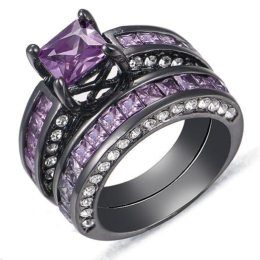 purple diamond round cut wedding engagement ring set black gold plated us size 5 11 - Purple Diamond Wedding Ring