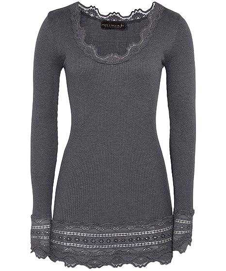 182f07b6445297 Rosemunde Women's Silk Long Sleeve Top Dark Grey: Amazon.co.uk: Clothing