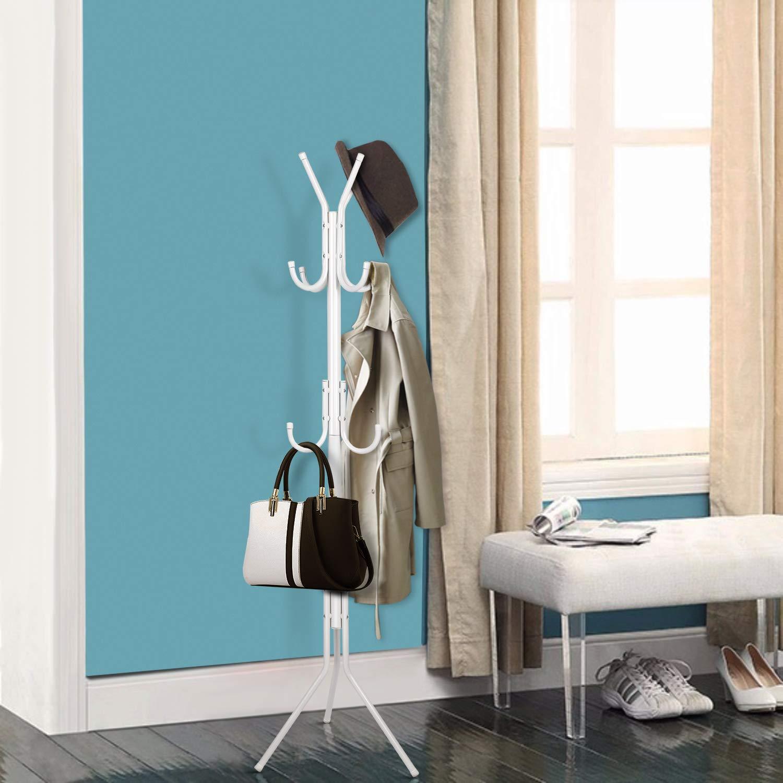 Wohnzimmer wei/ß Schlafzimmer B/üro etc. im Flur INTEY Garderobenst/änder Stabil Metall Kleiderst/änder Garderobe mit 11 Haken H/öhe 173 cm passt gut am Eingang