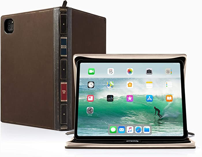 Twelve South BookBook Vol 2 for 12.9-inch iPad Pro (Gen 3 and 4) | Hardback Leather Case and Easel with Pencil/Document/Keyboard Storage for iPad Pro + Apple Pencil (12-2013)