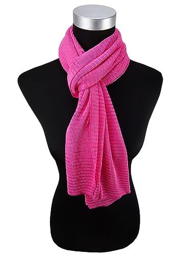 Satén de las señoras bufanda pañuelo para el cuello – pink rosa modelada tamaño 155 cm x 55 cm