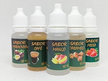 Liquido vapear,E-Liquid, (Pack-16) 5 x 10 Ml. 0,0 MG Nicotina, Líquido para Cigarro Electrónico PG (60%) /GV (40%), Sabores: Mango, Caramelo, Fresa, Maracuyá y Café.Liquido vaper.: Amazon.es: Salud y cuidado personal
