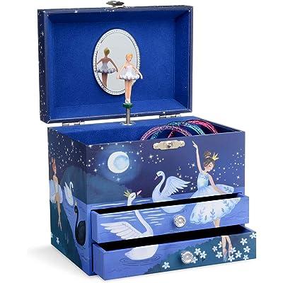 Jewelkeeper - Joyero Musical con una Bailarina y Dos cajones extraíbles, diseño con Brillo - Melodía del Lago de los Cisnes