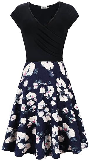 03dcaca3e7c255 KorMei Damen Sommerkleid Elegante A-Line V-Ausschnitt Kurzarm Strandkleid Vintage  Casual Kleider Blau