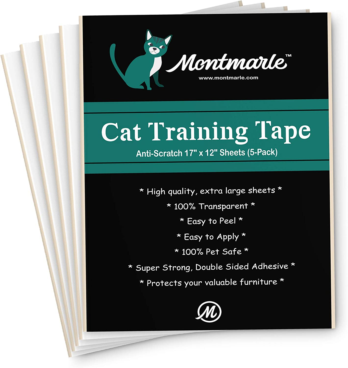 MONTMARLE Anti-Scratch Cat Training Tape – Protect Your Furniture Legs Couch Table Carpet – Pet Corrector Double Stick Tape – Cat Scratching Deterrent Fabric Protector