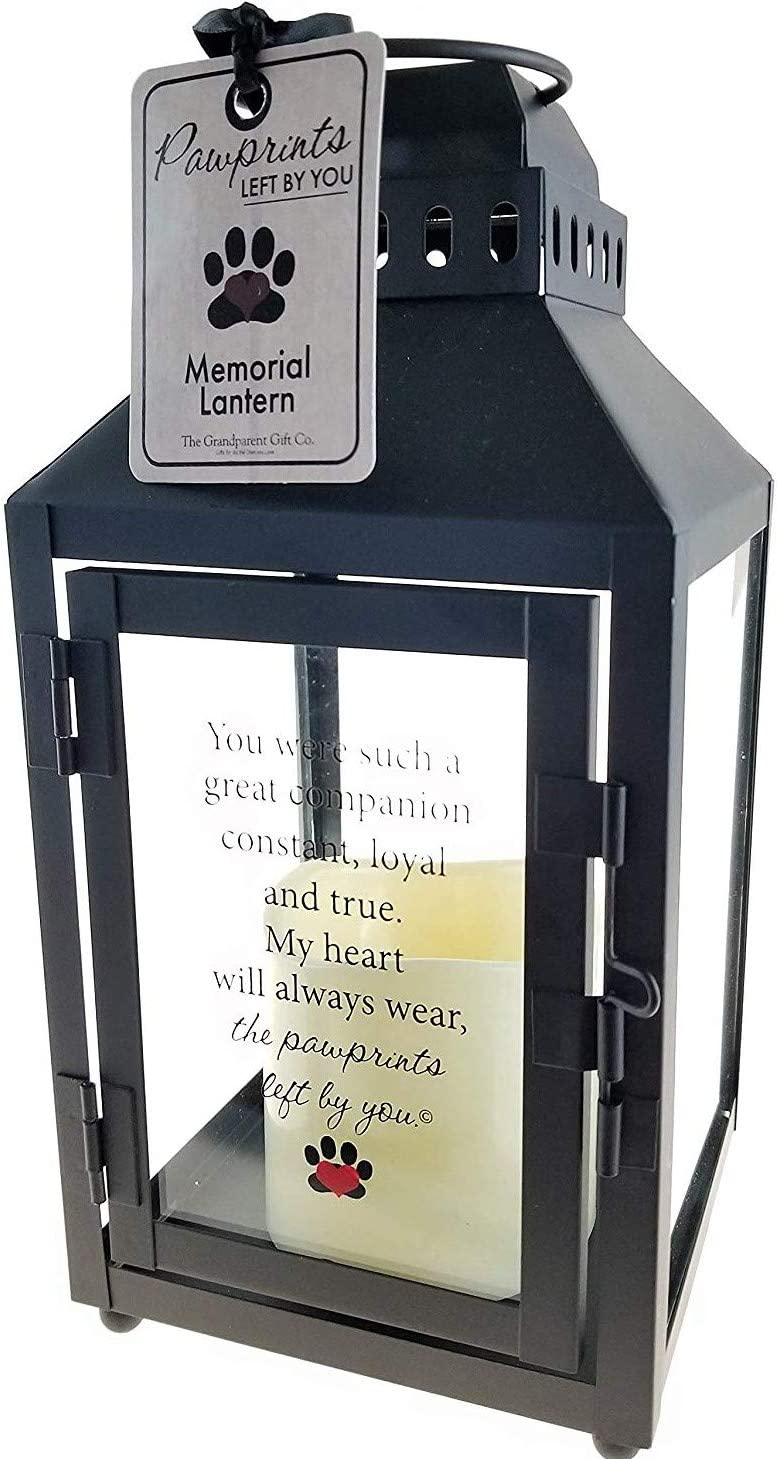 Pawprints Left by You Memorial Gifts Pawprint Left Metal Lantern, Black