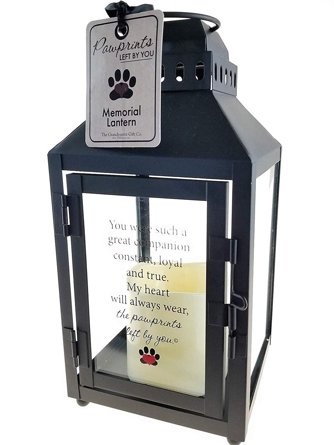 """The Grandparent Gift Co. Light and Love Pawprints Left by You Memorial Lantern - Bereavement or Sympathy Gift - 3"""" Flickering LED Candle Included - 10""""x4.75""""x4.75"""""""