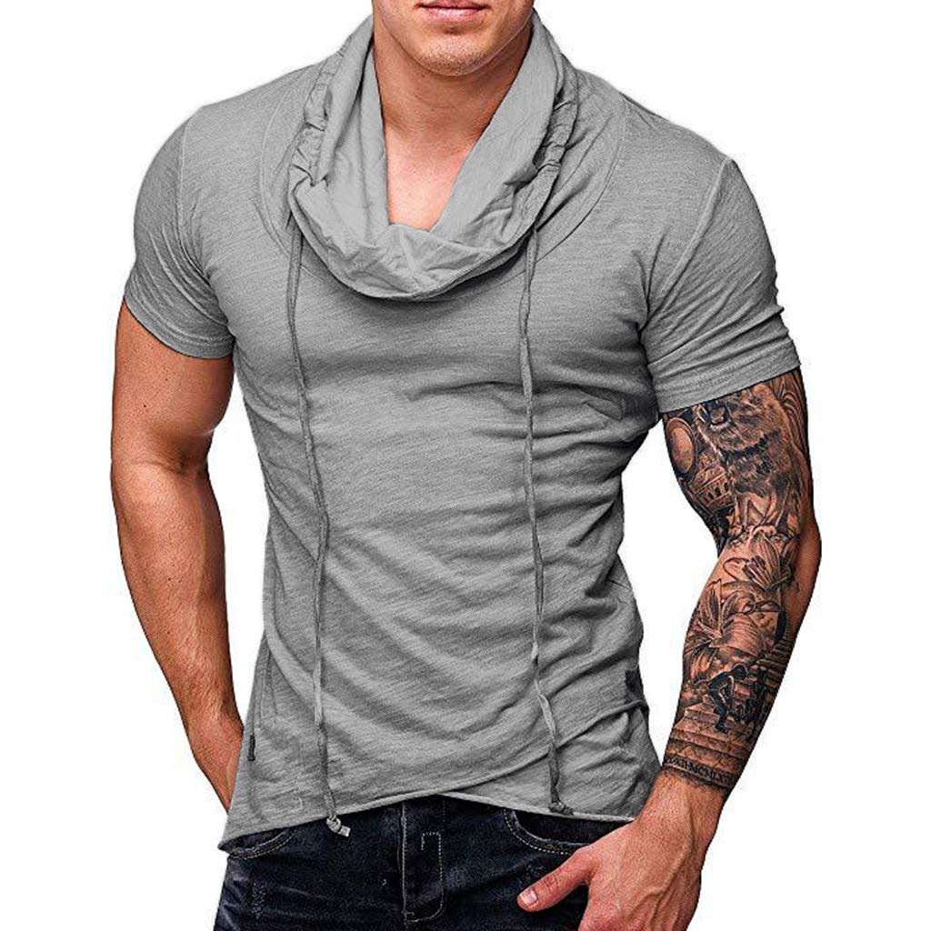 F_Gotal T-Shirt for Mens, Men's Short Sleeve Polyester Shirt Big and Tall Casual Breathable Slim Fit Tees Blouse Tops Gray