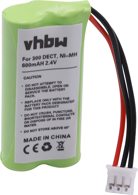 vhbw NiMH batería 600mAh (2.4V) para teléfono Fijo inalámbrico Philips Aleor 300 por 2HR-AAAU, H-AAA600X2, H-AAA500X2.