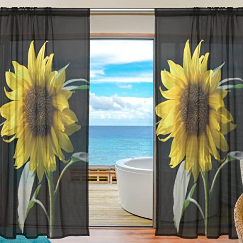 SAVSV Window Sheer Curtains Panels Voile Tulle Morden Sunflower - a good cheap window curtain panel