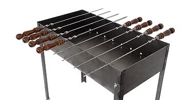 Barbacoa Desmontable en Acero - Tipo Mangal - Gran Modelo - Con 6 Pinchos de Metal