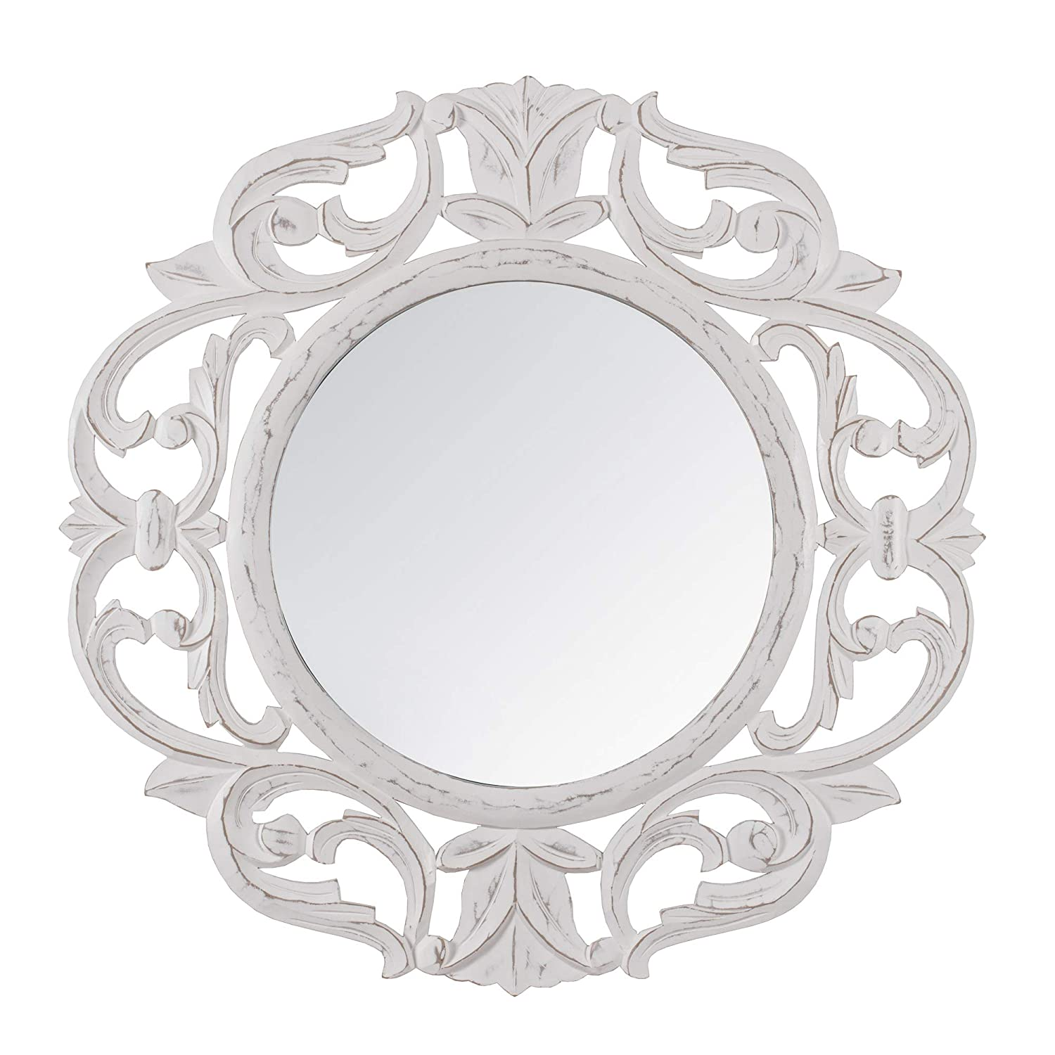 "Madeleine Home Alba Decorative Wall Mirror | Minimalistic & Modern Carved Wall Mount Accent Mirror Perfect for Bathroom, Powder Room, Hallway, Living Room | 24"" Round, White"