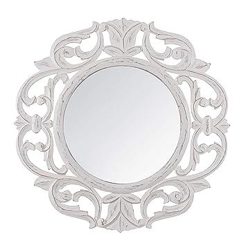 Madeleine Home Alba Decorative Wall Mirror | Minimalistic & Modern Carved  Wall Mount Accent Mirror Perfect for Bathroom, Powder Room, Hallway, Living  ...