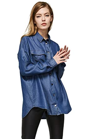 b08ca57fa5 Escalier Women s Denim Shirt Chambray Tencel Long Sleeve Button Down Shirts  Oversize Blouse Blue XS
