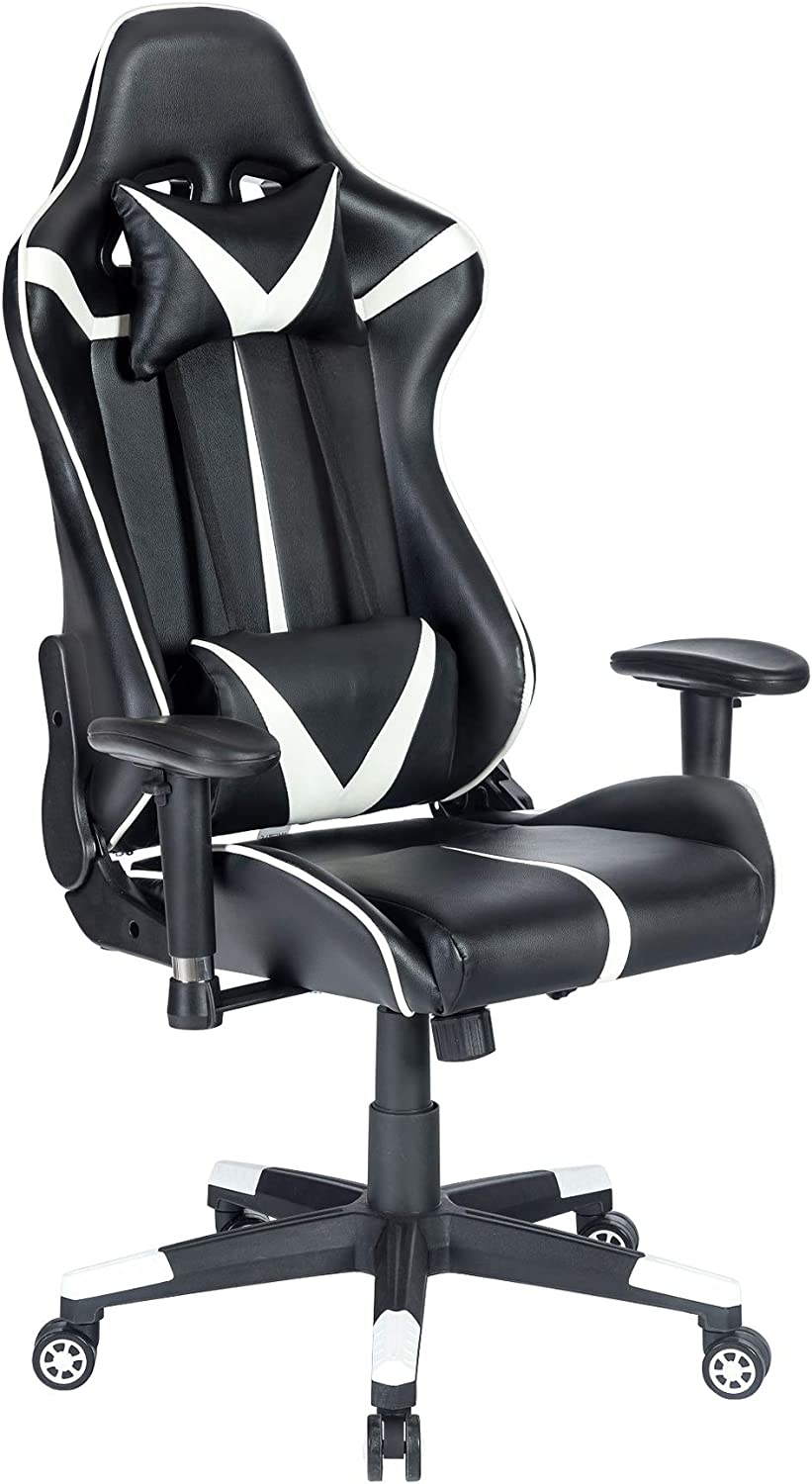 High Back Racing PC Computer Desk Office Chair Swivel Ergonomic Executive Leather Chair with Adjustable Armrest 8332Black Blue Whale Massage Gaming Chair with Footrest