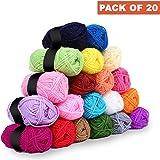Kurtzy Laine Crochet - Laine à tricoter 20 Pcs - Assortiment de fils souples acryliques colorés - 25 g de Fil à tricoter pour tricoter pulls, cardigans, vêtements, couvertures et plus