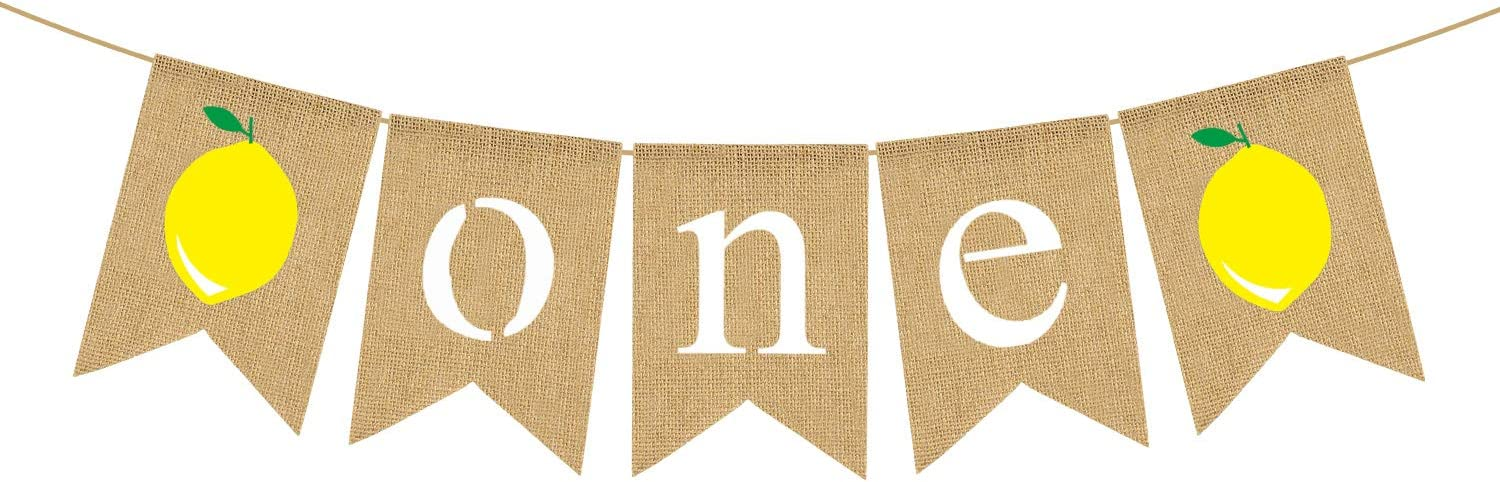 Jute Burlap One Banner with Lemon Summer Lemonade Boy Girl 1st Birthday Party High Chair Bunting Garland Decoration