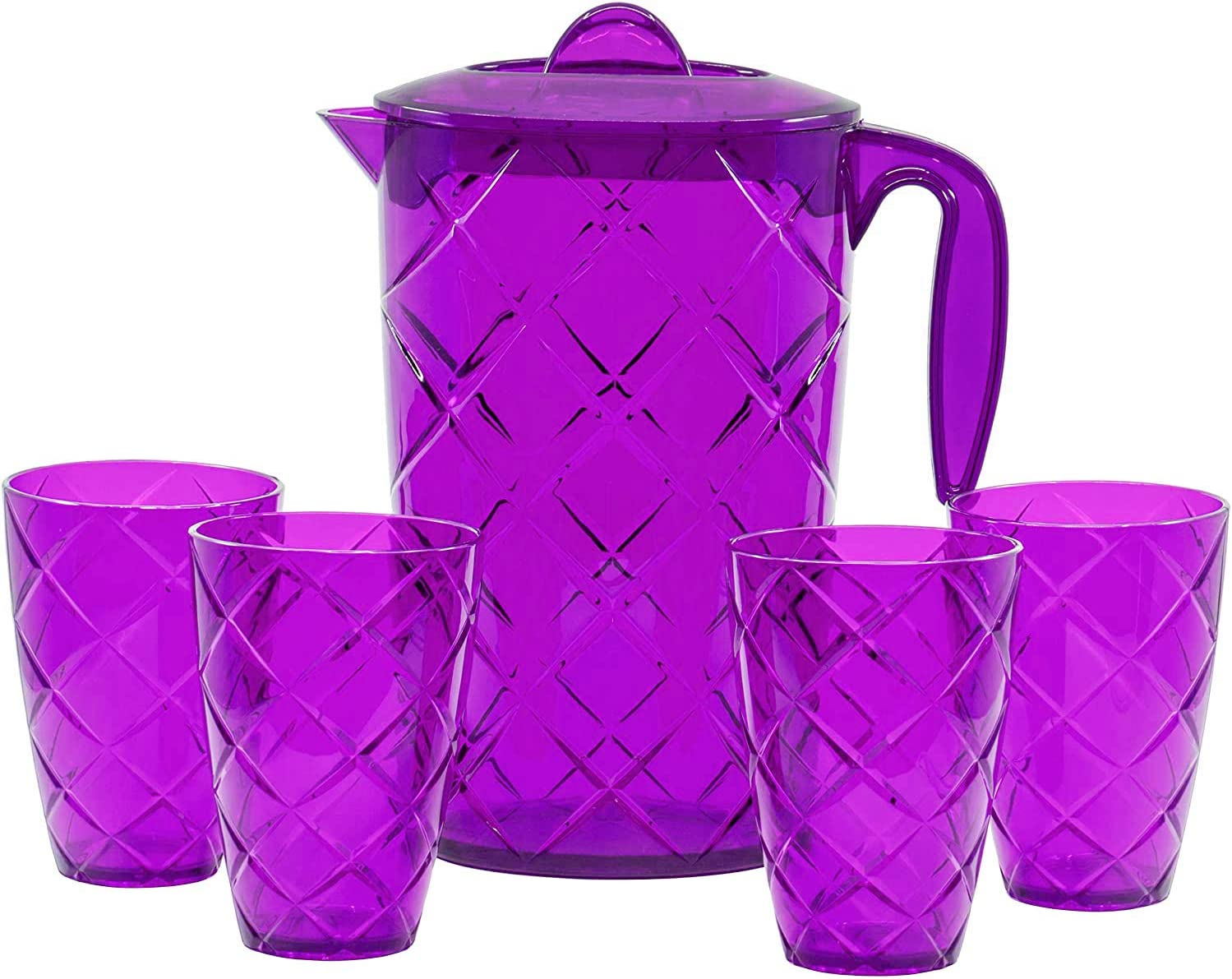 Red Co. Durable Plastic Pitcher with Lid and 4 Tumbler Glasses Drinkware Set, Drip Free Cold Water Jug Perfect for Iced Tea, Sangria, Lemonade — 64 fl oz. pitcher with 12 fl oz. glasses — Purple