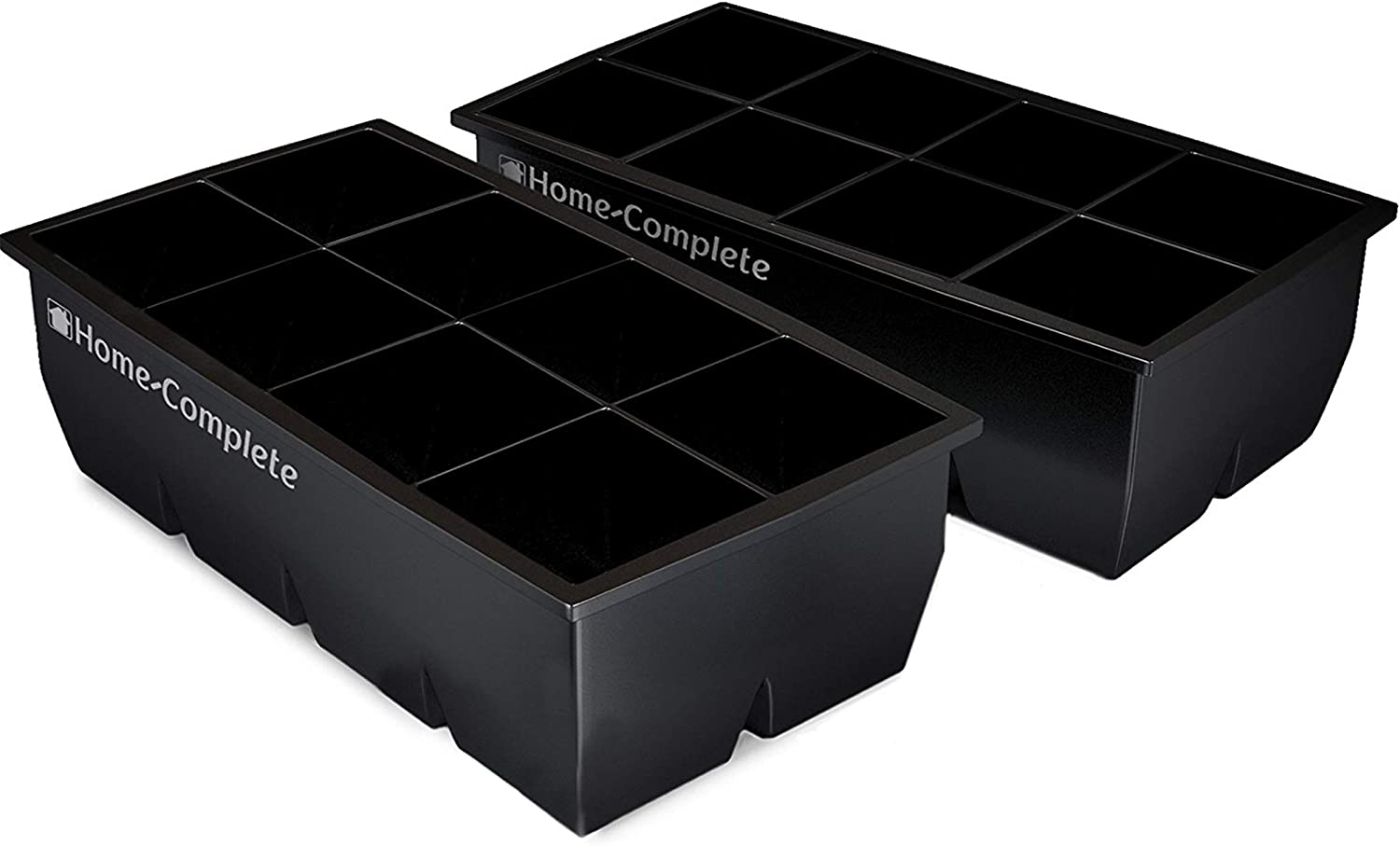 "Home-Complete Large Ice Molds Silicone Trays Makes 8, 2""x 2"" Big Cubes BPA-Free, Flexible-Chill Water, Lemonade, Cocktails, and More, Black(Pack Of 2)"