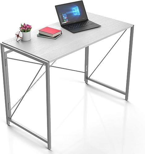 Galvanox Computer Desk 40″x20″x30″ Modern White Folding Desk