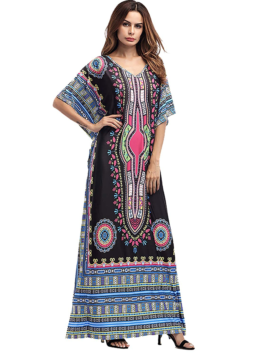 f7eb2d8ca2f Package  1 x Maxi Long Dress for women. African floral printed ethnic  style