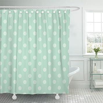 Amazon.com: MAYTEC Shower Curtain Light Green Polka Dots on Retro ...