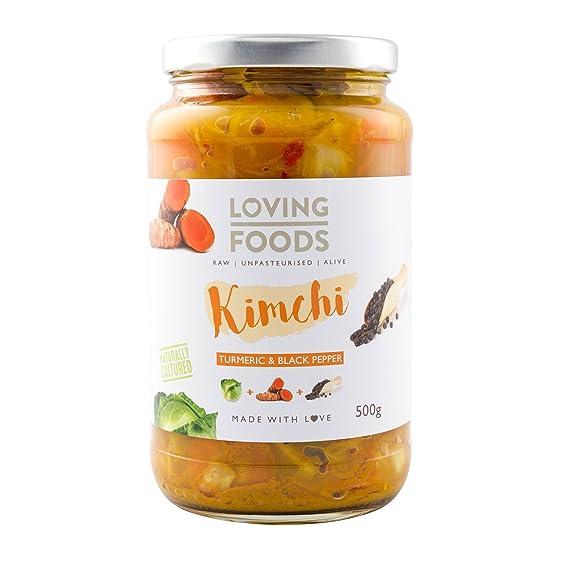 Loving Foods Orgánico Kimchi Cúrcuma & Pimienta Negra Kimchi (500g) CRUDO | SIN PASTEURIZAR | VIVO (12 x Jars)