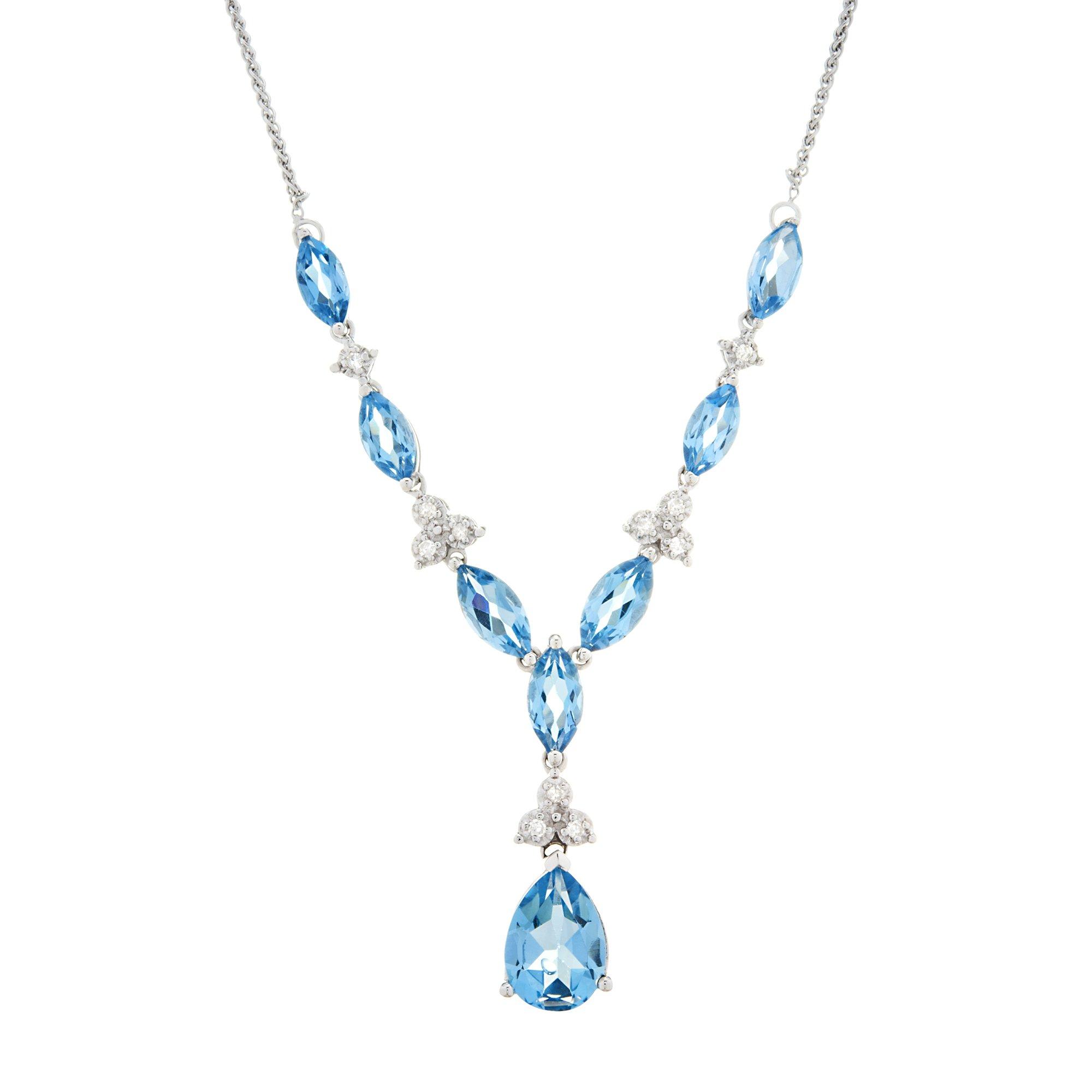 "10K White Gold & 6.20 CT Swiss Blue Topaz With 1/10 CTTW Diamond (IJ/I1I2) ""Y"" Style Necklace 17"""