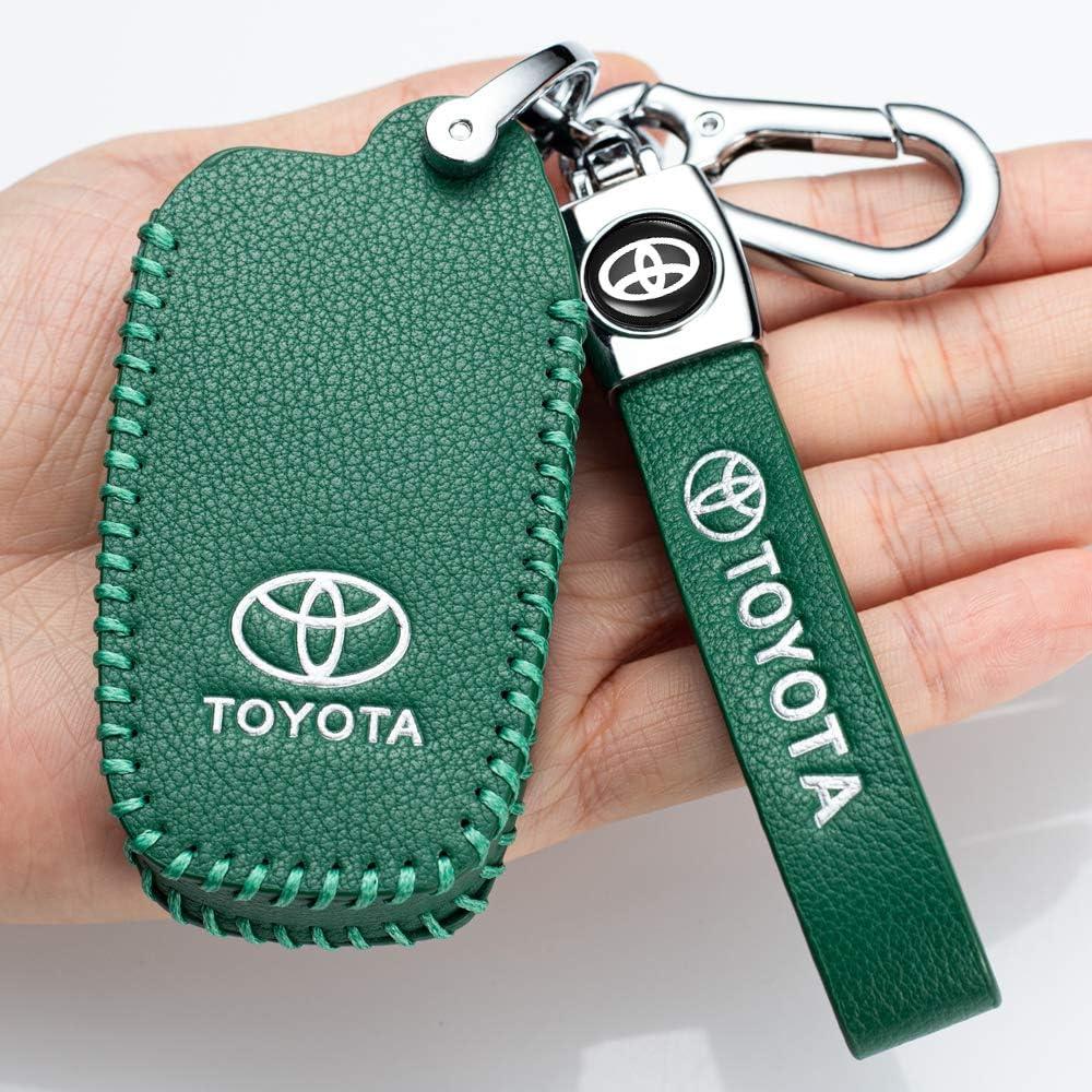 Leather Car Key Fod Cover Case Protector Keyless for toyota 4 Buttons Camry Highlander RAV4 Avalon Smart key fob holder