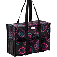 Pursetti Zip-Top Organizing Utility Tote Bag with Multiple Exterior & Interior Pockets for Working Women Nurses Teachers and Soccer Moms (Purple Circle)