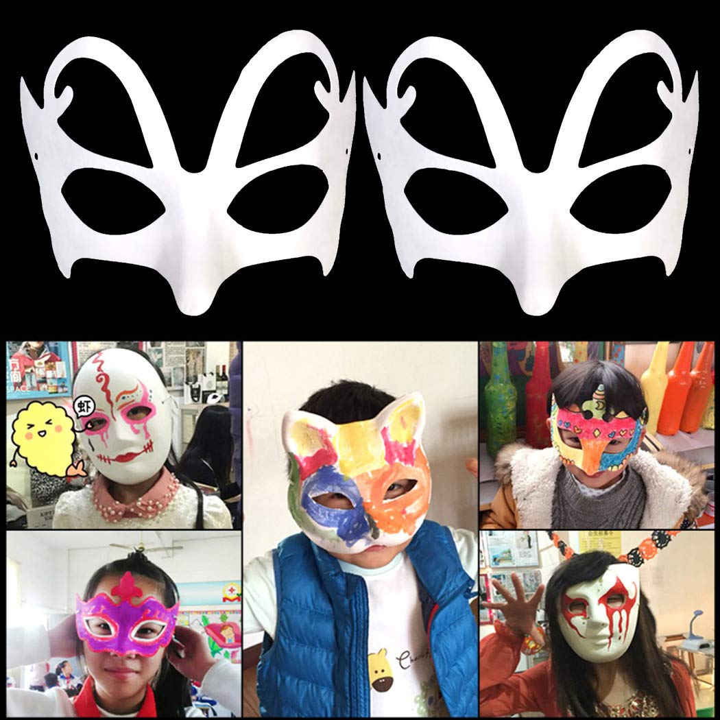 FunPa 12 Piezas M/áscara Blanco DIY Sin Pintar M/áscara Blanca M/áscara de Mascarada Decoraci/ón de Bricolaje M/áscaras de Fiesta Pintura Carnaval Cosplay D/ía del Ni/ño Regalo para Ni/ños Mujeres Hombres