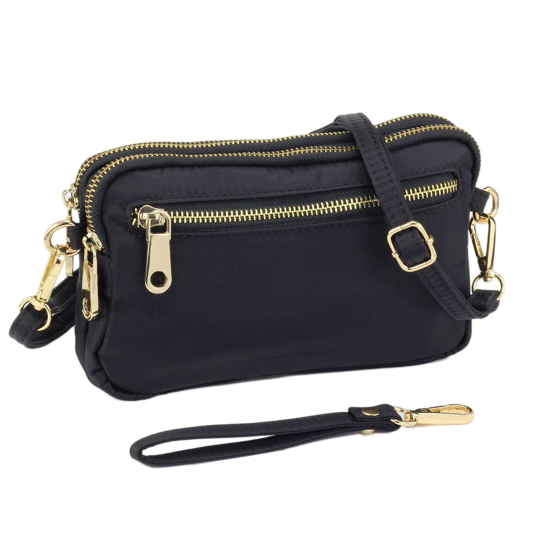 ZORFIN Nylon Small Crossbody Bags for Women Waterproof Cell Phone Purse Wristlet Wallet (ZF181109HO-BL)