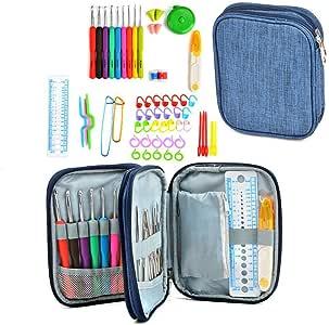 Conjunto de Ganchillo Kit 60 piezas Agujas de Ganchillo Herramientas Incluyendo los ganchos de tejer, las agujas, las tijeras y más Perfecto para proyectos de artesanía, textiles hechos a mano: Amazon.es: Instrumentos