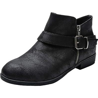885b7ab029b Luoika Women s Wide Width Ankle Booties - Low Block Heel Side Zipper Buckle  Srtap Comfortable Boots