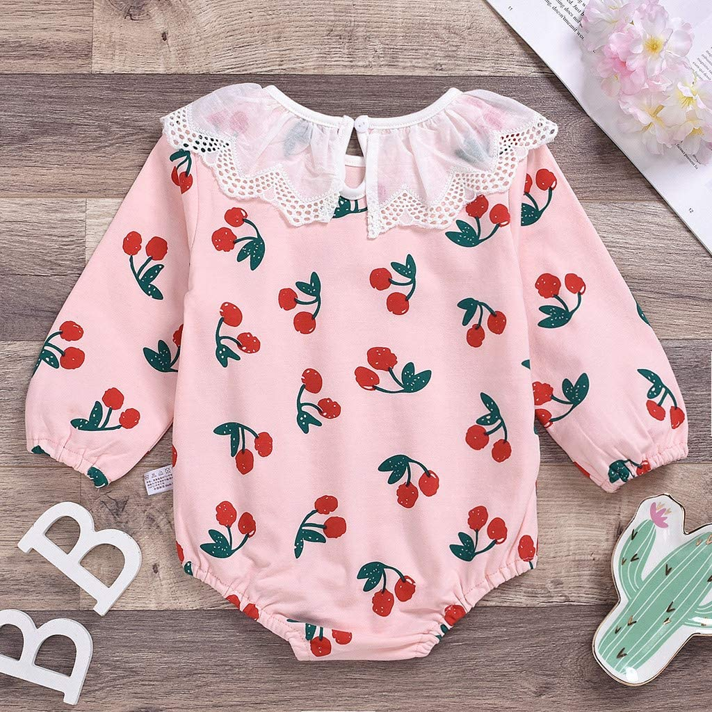 Newborn Infant Baby Girl Basic Long Sleeve Cotton Romper Bodysuit Tops Cherry Print Jumpsuit Outfit Clothes