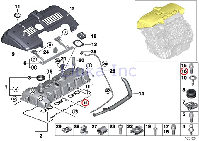 7 X 46 Mm Hex Head 528i 528xi X5 3.0si 128i X3 3.0i X3 3.0si Z4 3.0i Z4 3.0si Z4 3.0si 128i Z4 30i 323i 328i 328xi 323i 328i 328xi 328i 328xi 328i 328xi 328i 328xi 328i 328xi 328i 328i 528i X3 28iX BMW Genuine Engine Cylinder Head Valve Cover Bolt