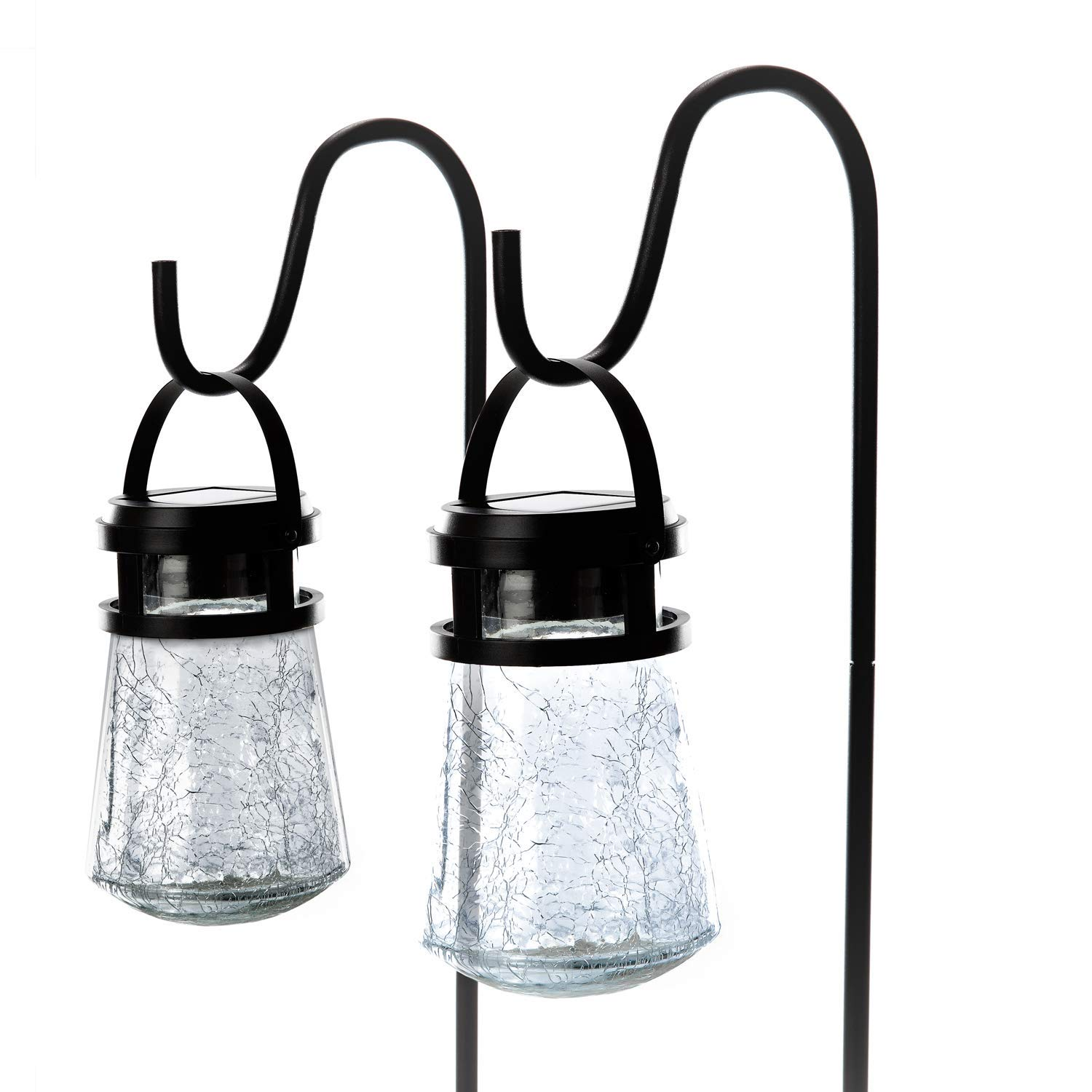 Home Zone Security Solar Pathway Lights - Outdoor 3000K Solar Crackle Glass Garden Lights with No Wiring Required (2-Pack)
