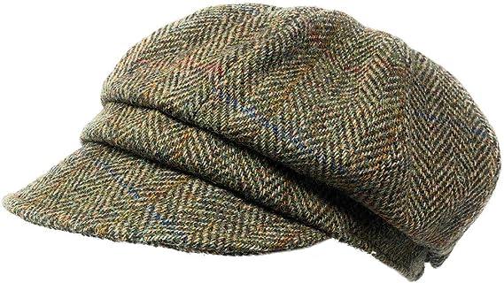 Scott MacKenzie Harris Tweed Baker Boy M/ütze in braunem Fischgr/ätenmuster
