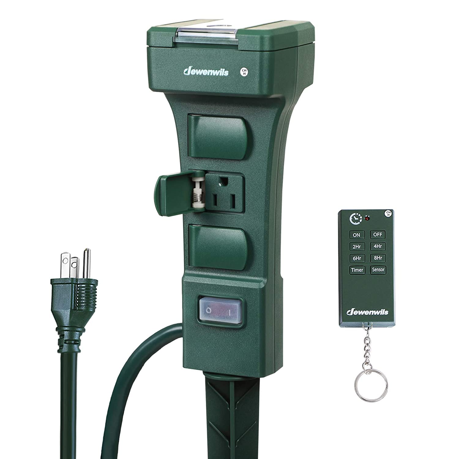 DEWENWILS Outdoor Power Stake Timer, Waterproof Power Strip Timer Switch with Photocell Light Sensor, 6 Grounded Outlets, 6 ft Extension Cord, 100 Ft Remote Control, 15A 1/2HP UL Listed